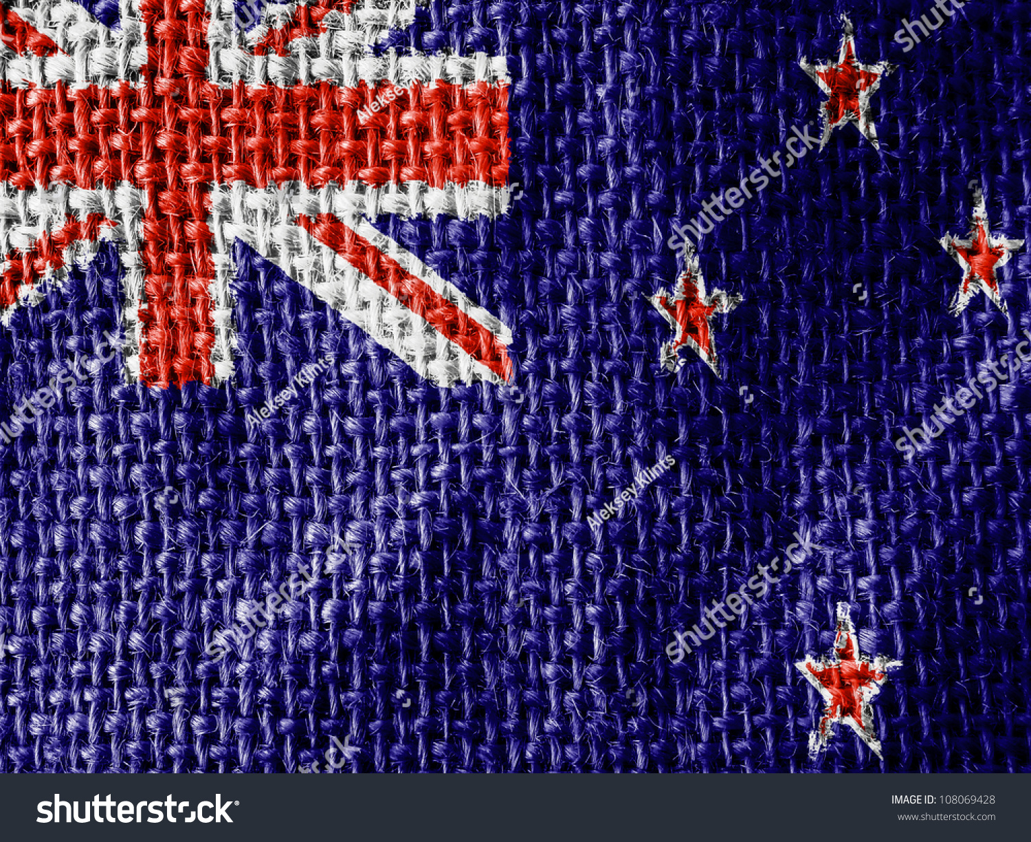 The new zealand flag painted on fabric surface stock photo for Space fabric nz