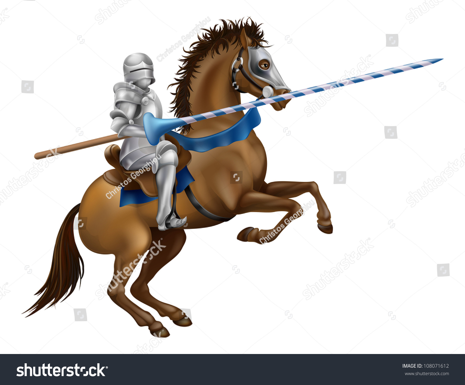 Drawing Of A Jousting Knight In Armour On Horse Back