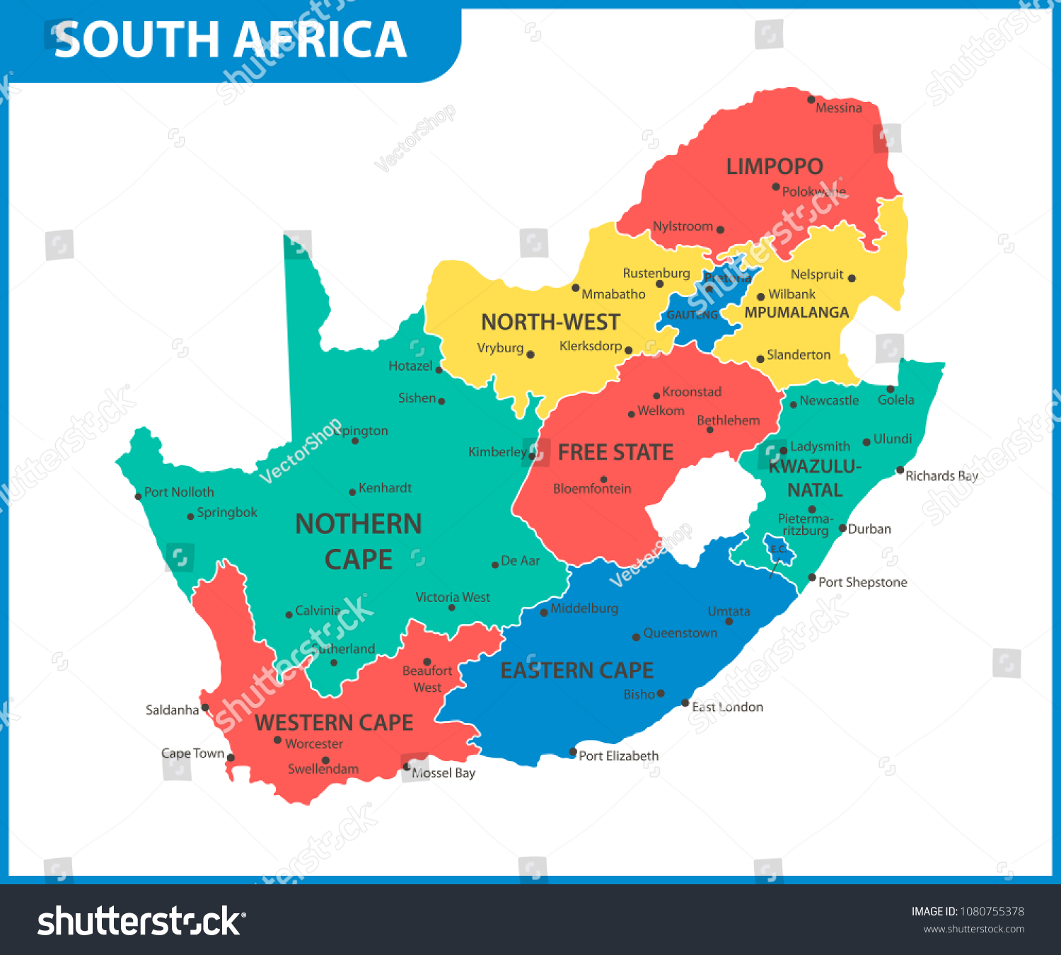 Map South Africa States Detailed Map South Africa Regions States Stock Vector (Royalty