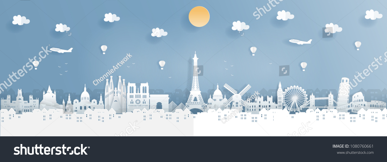 Top world famous landmark for travel poster and postcard, France,England,Spain,Italy in paper origami style vector illustration.