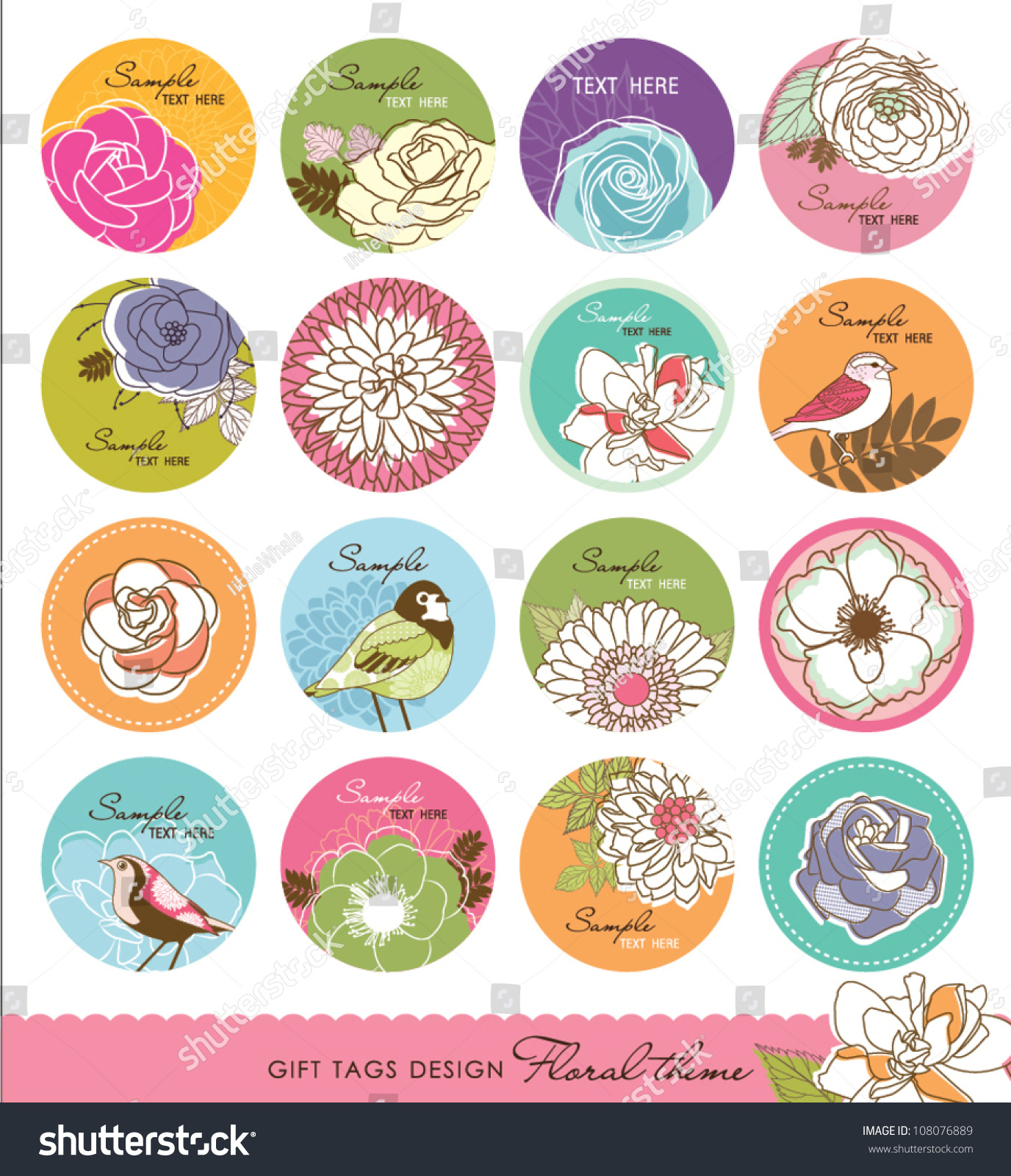 Set Gift Tag Design Floral Theme Stock Vector 108076889 - Shutterstock
