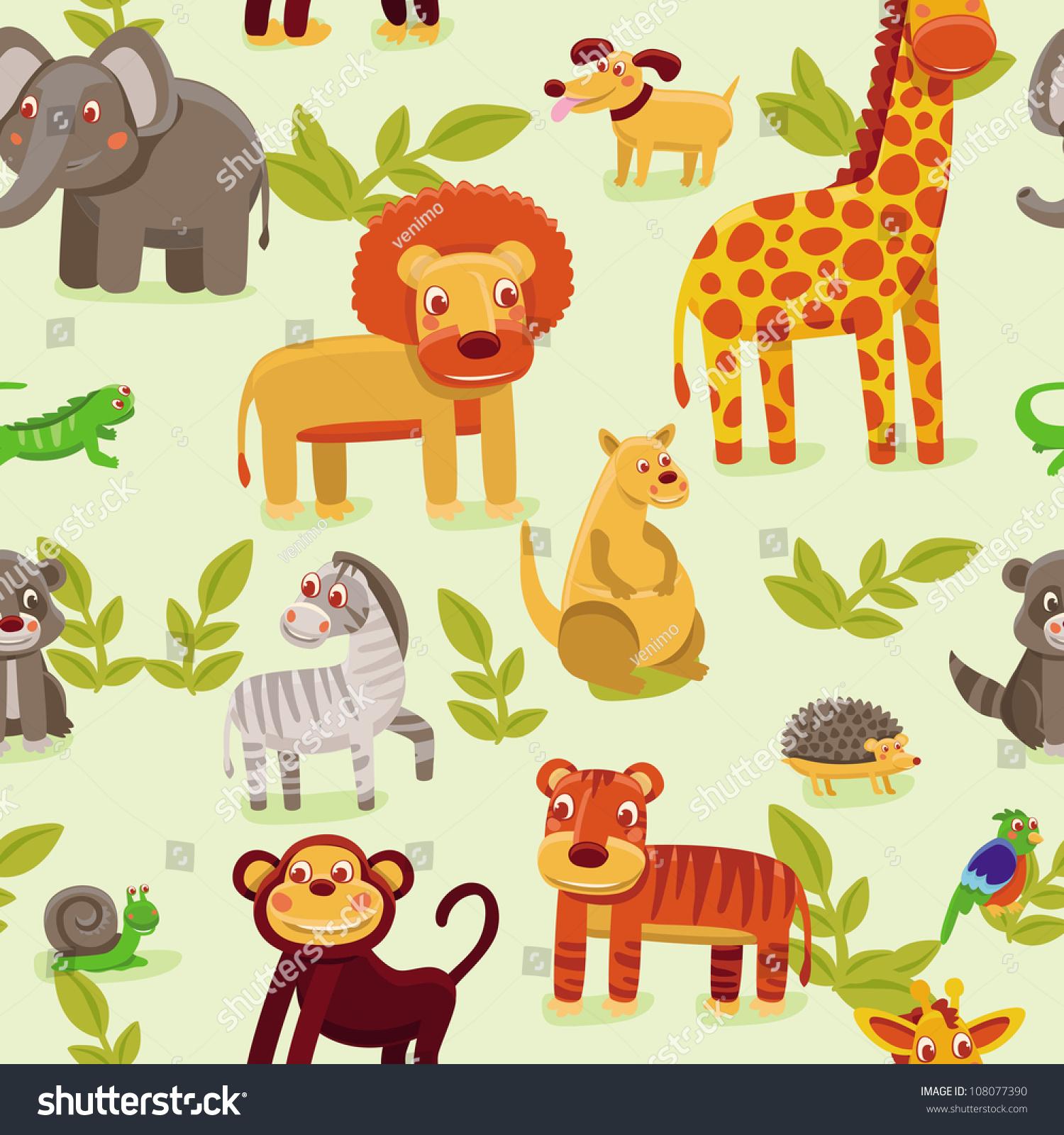 Vector Seamless Pattern Cartoon Animals Wallpaper Stock
