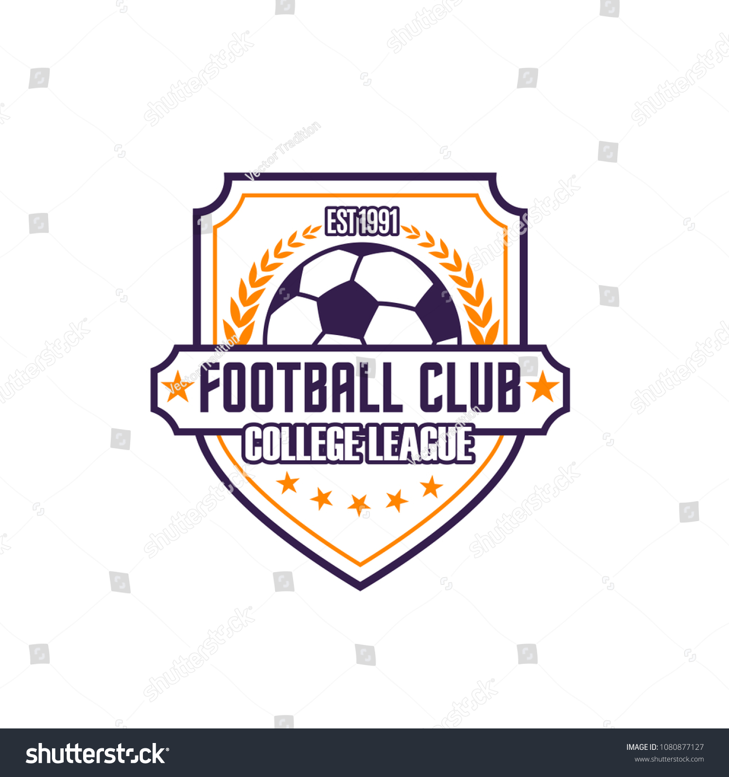 e64a8bf0a Football club college league vector icon isolated on white background.  Soccer college team vector emblem