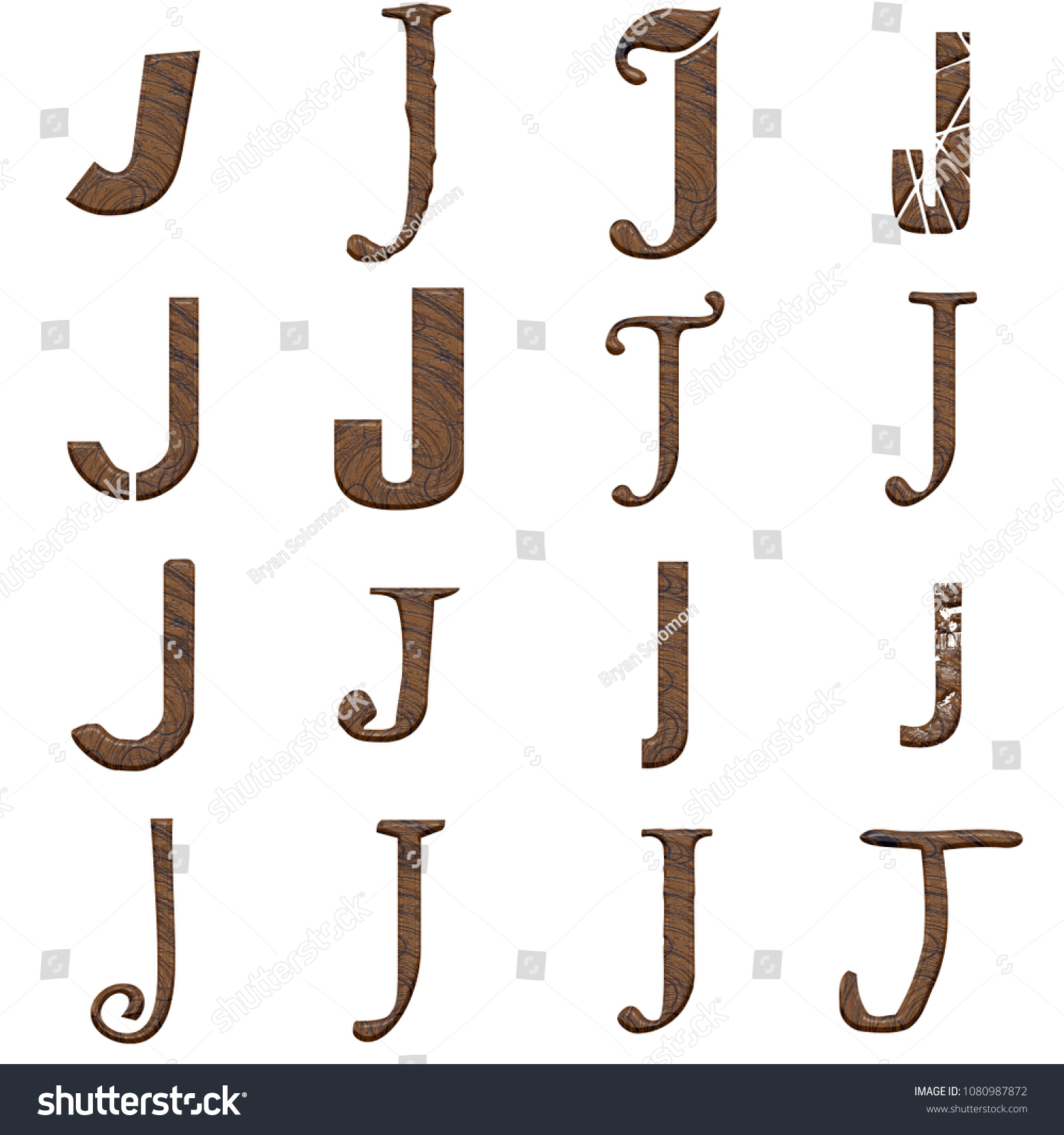 Wood Letter J Set Multiple Various Stock Illustration 1080987872