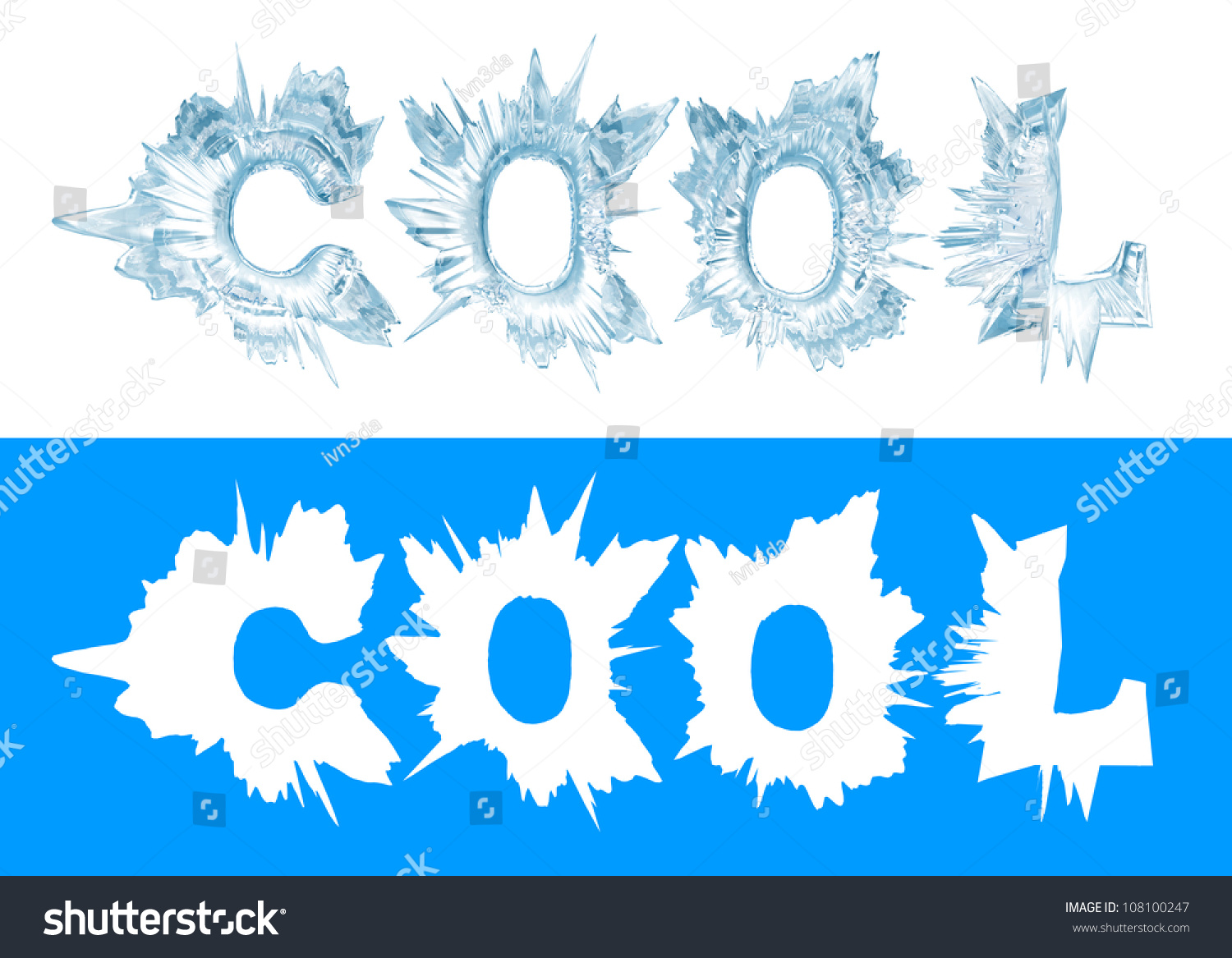ice crystal letters the word cool