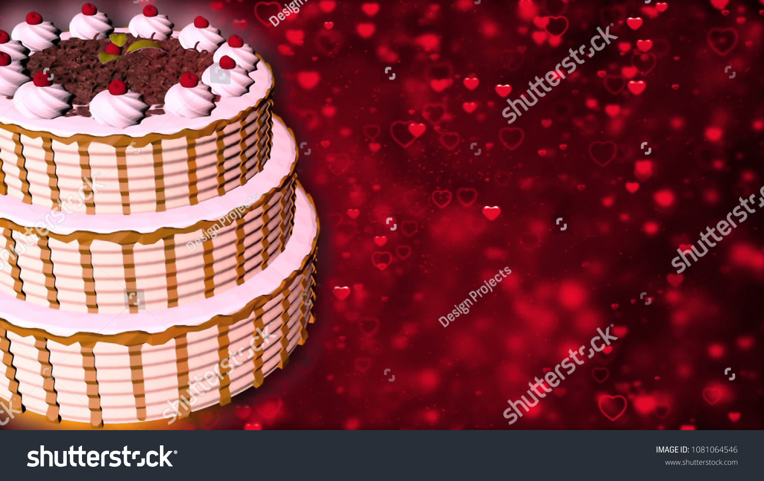 Happy Birthday Cake 3 D Rendering Stock Illustration 1081064546