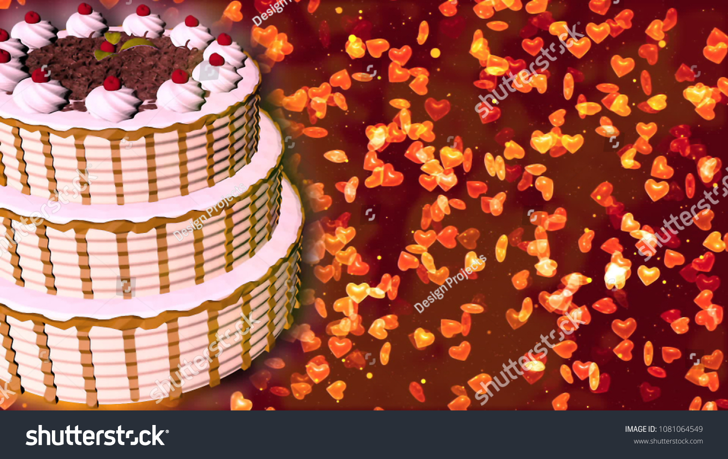 Happy Birthday Cake 3 D Rendering Stock Illustration 1081064549