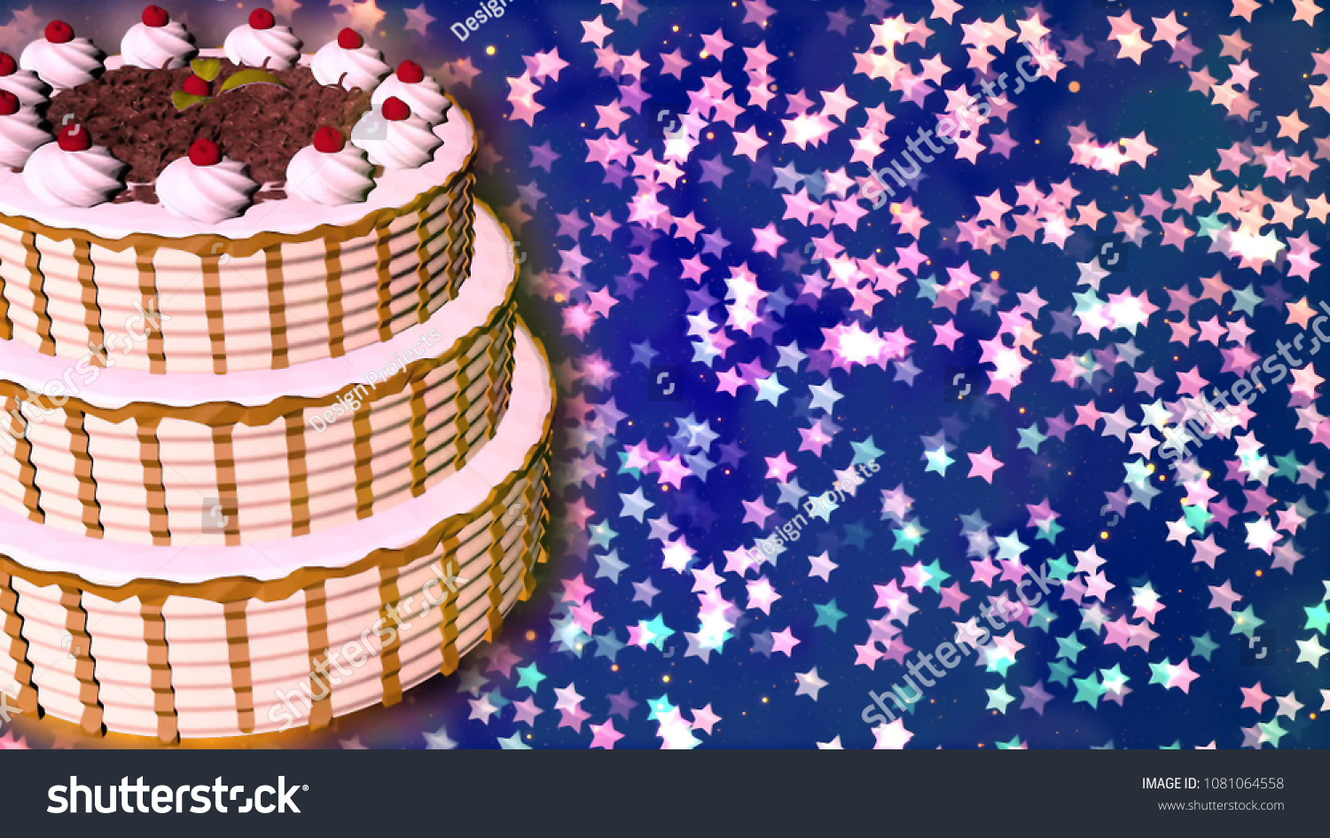 Happy Birthday Cake 3 D Rendering Stock Illustration 1081064558
