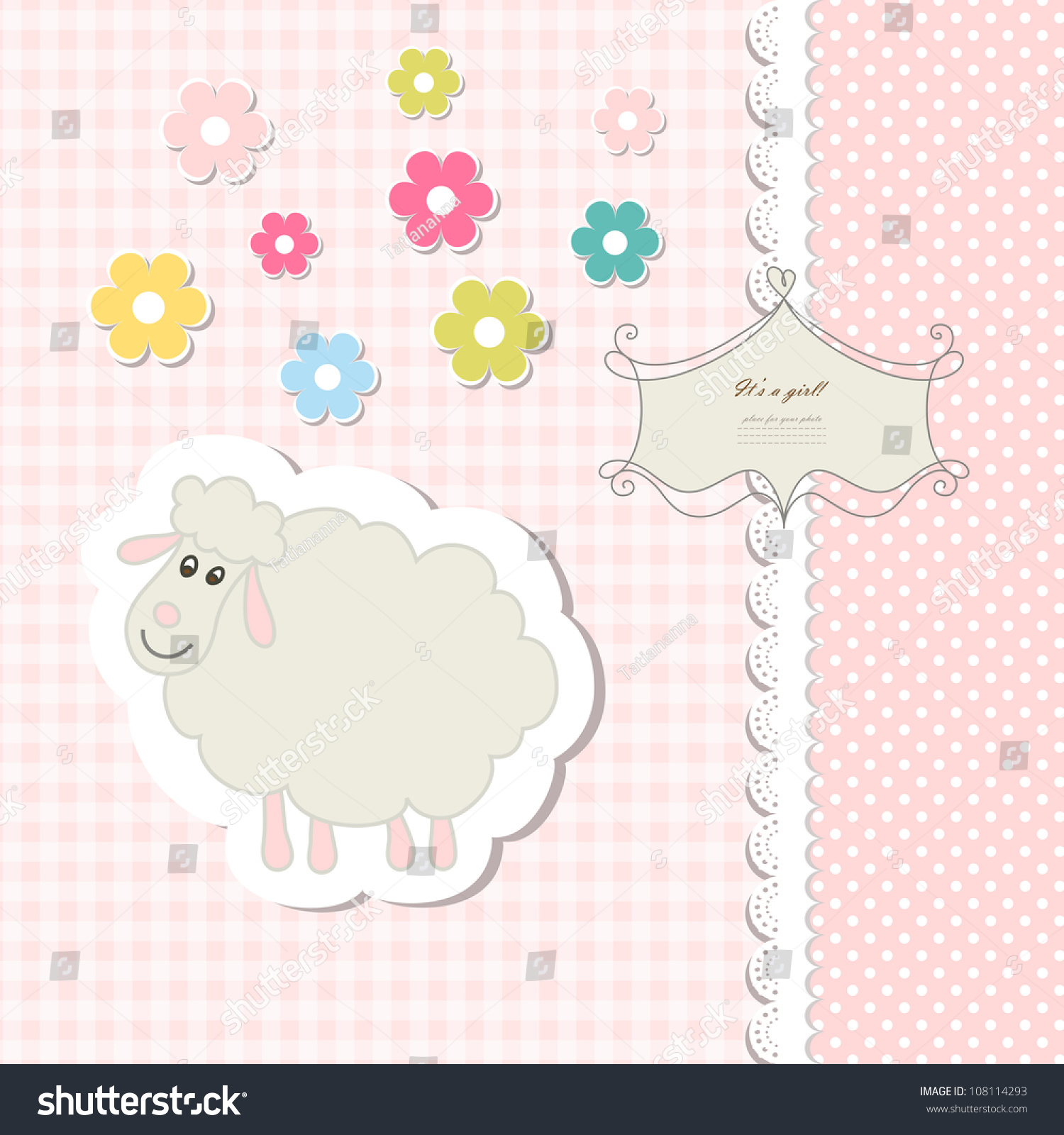 Retro Cute Art Sweet Kid Pink Stock Vector Shutterstock