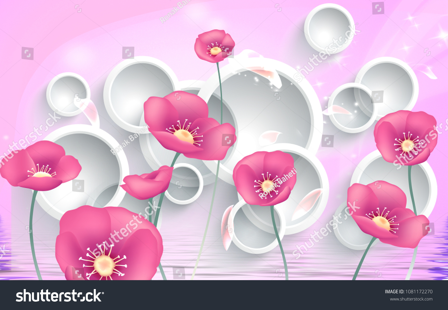 3 D Pink Flowers On White Circles Stock Illustration 1081172270