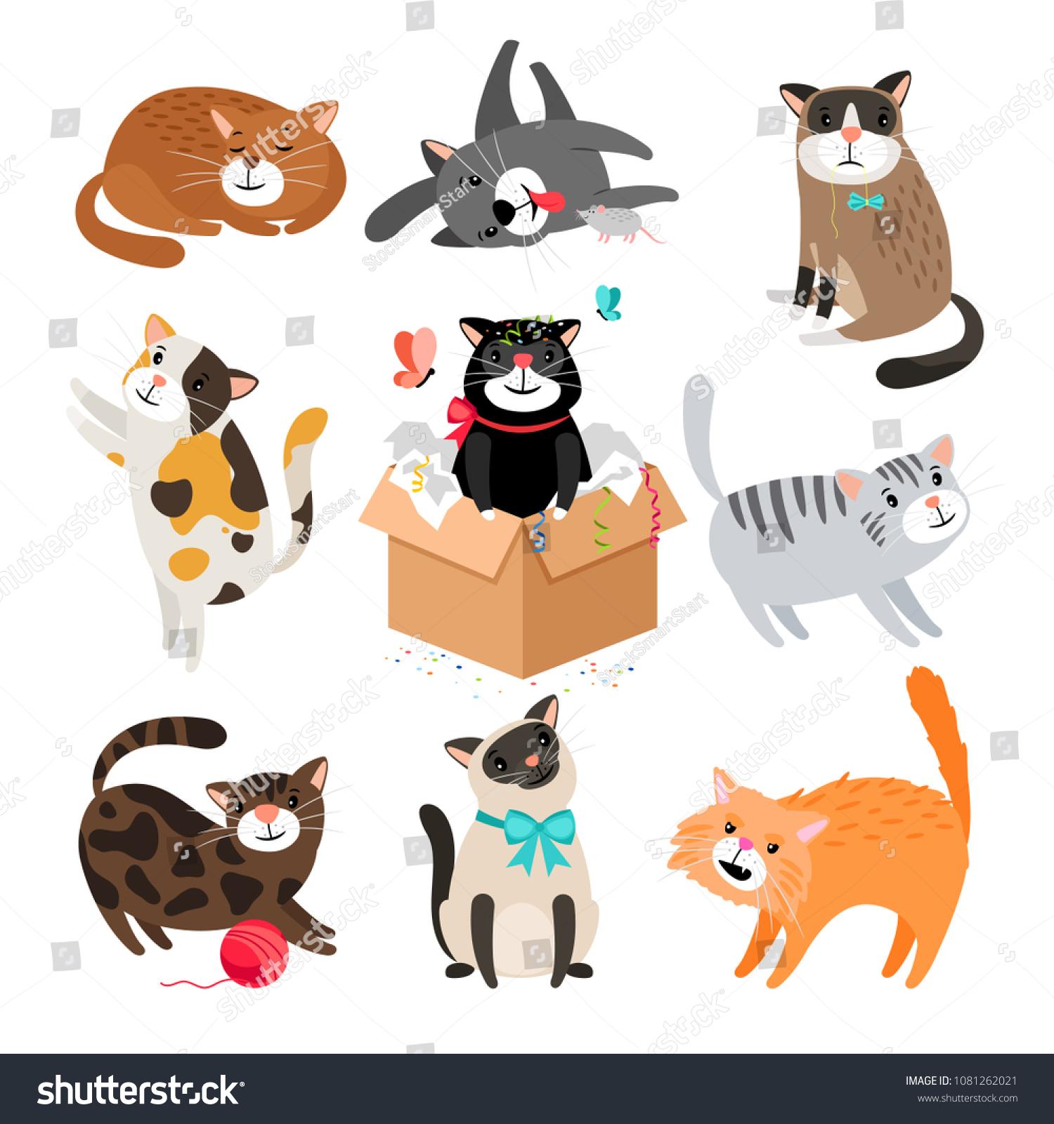 Vector Cats Simple Cute Cartoon Drawing Stock Vector Royalty Free