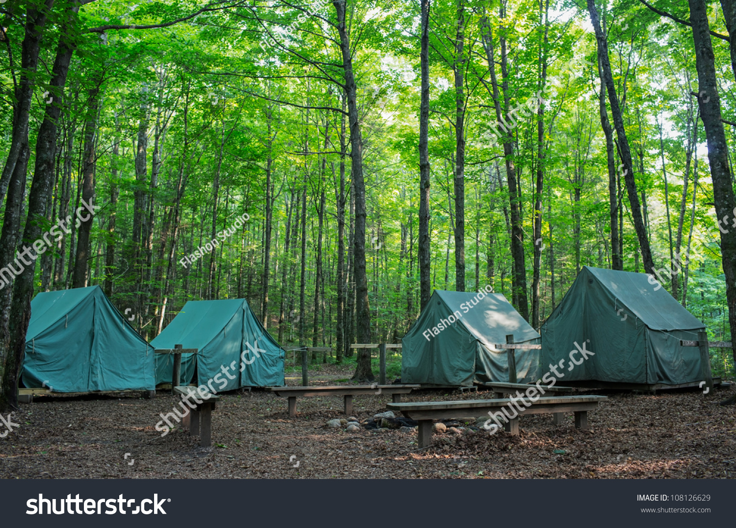 Wall Style Camping Tents Rustic Campground Stock Photo