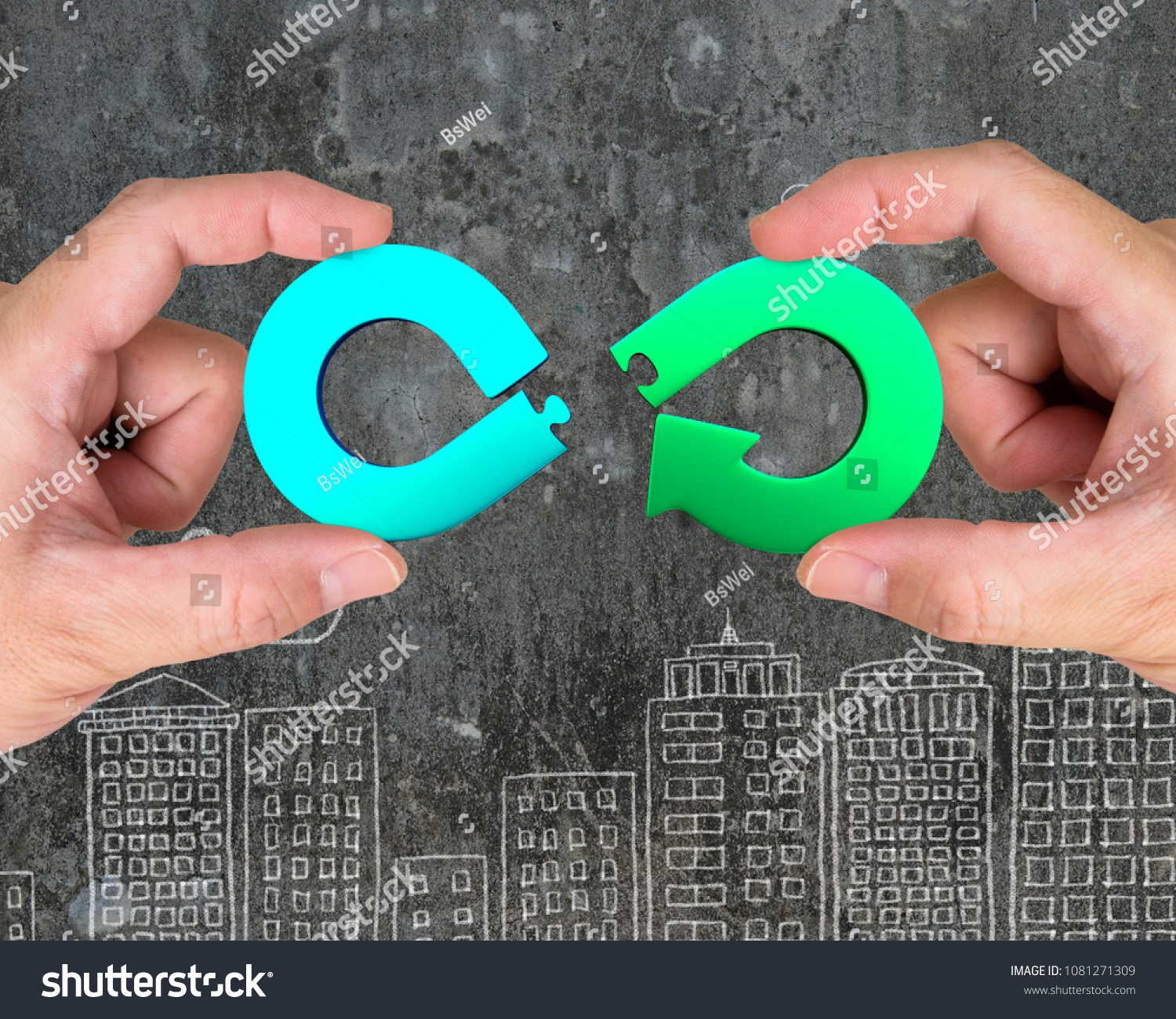 Circular economy concept. Two hands assembling arrow infinity recycling symbol of jigsaw puzzle pieces, on city buildings doodles background. #1081271309