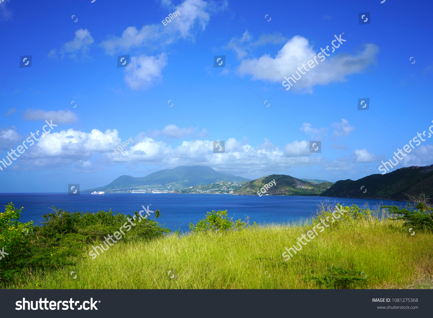Landscape view of Basseterre Bay in the Caribbean Sea in the Christophe Harbour area in the island of St Kitts, St Kitts and Nevis #1081275368