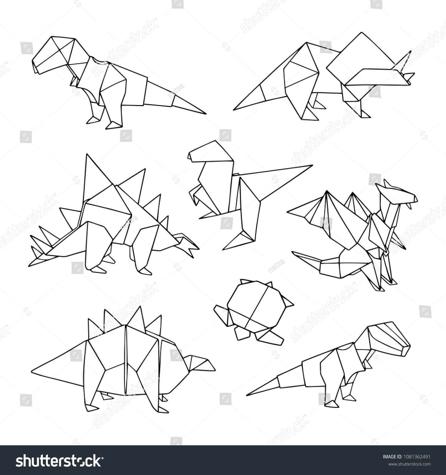Vector Set Origami Animals Dinosaurs Turtle Stock Royalty Origamiorigami Diagramsorigami Of And A Lovely Hand Drawn Illustration With