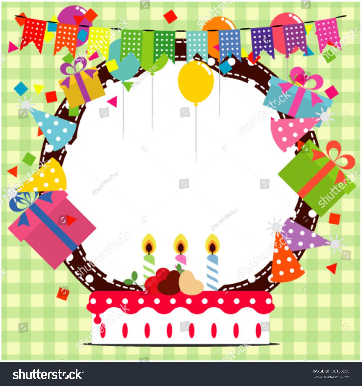 Birthday Frame Ballooncake Party Hat Element Stock Vector