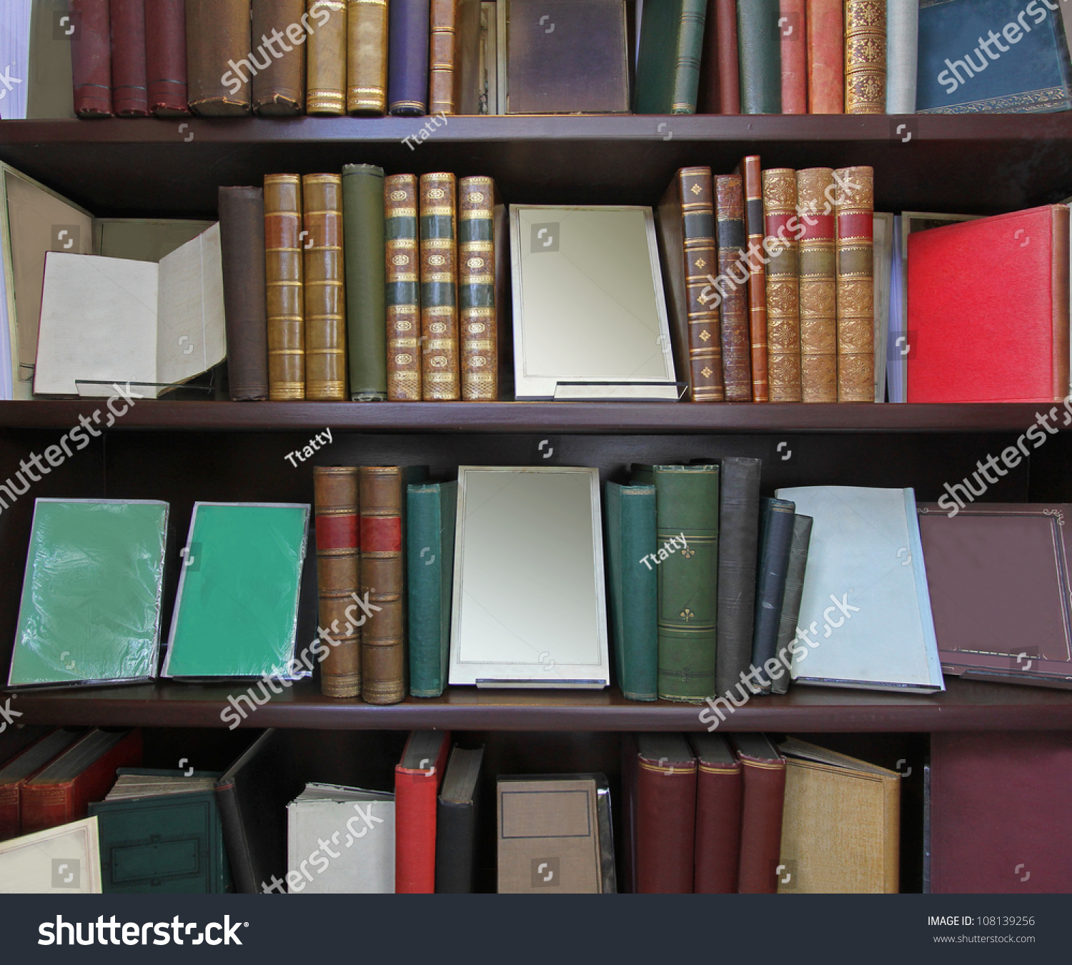 Old Books Leather Binding On Library Stock Photo 108139256