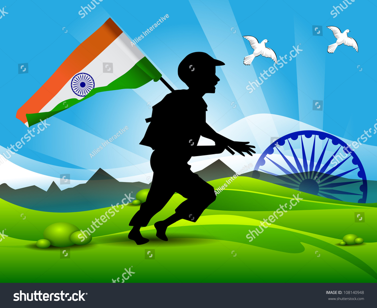 Indian Flag Butterflies: Soldier Silhouette On Indian Flag Nature Background. Eps