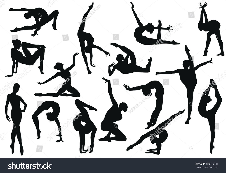 Gymnastics silhouette vector stock vector 108148181 for Immagini vector