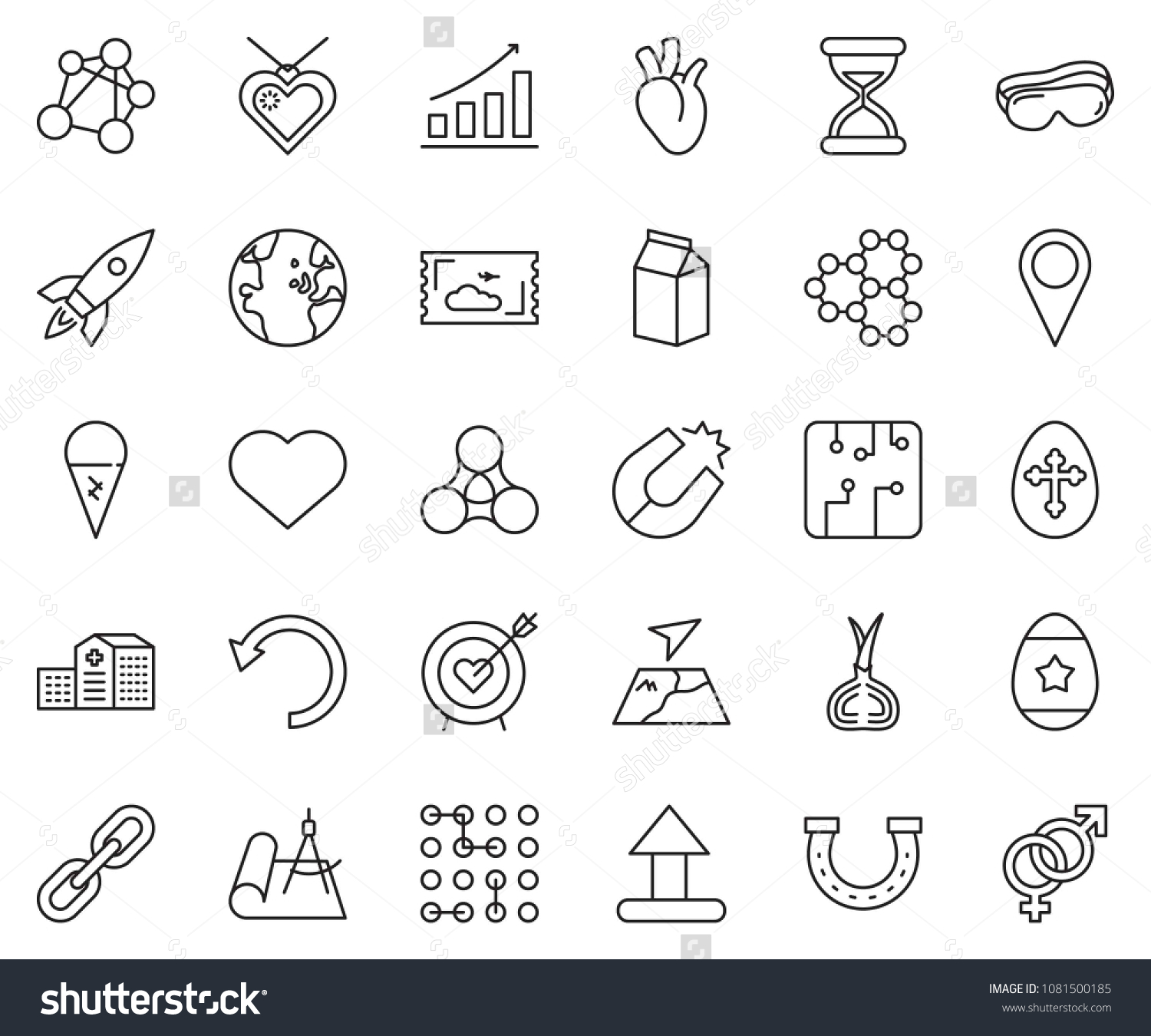 Thin Line Icon Set Growth Chart Stock Vector Royalty Free