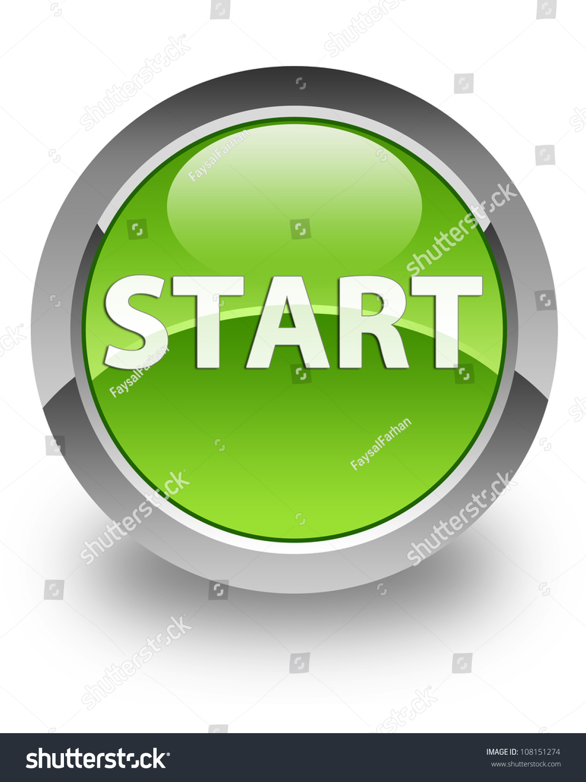 Start Icon On Glossy Green Round Button Stock Photo