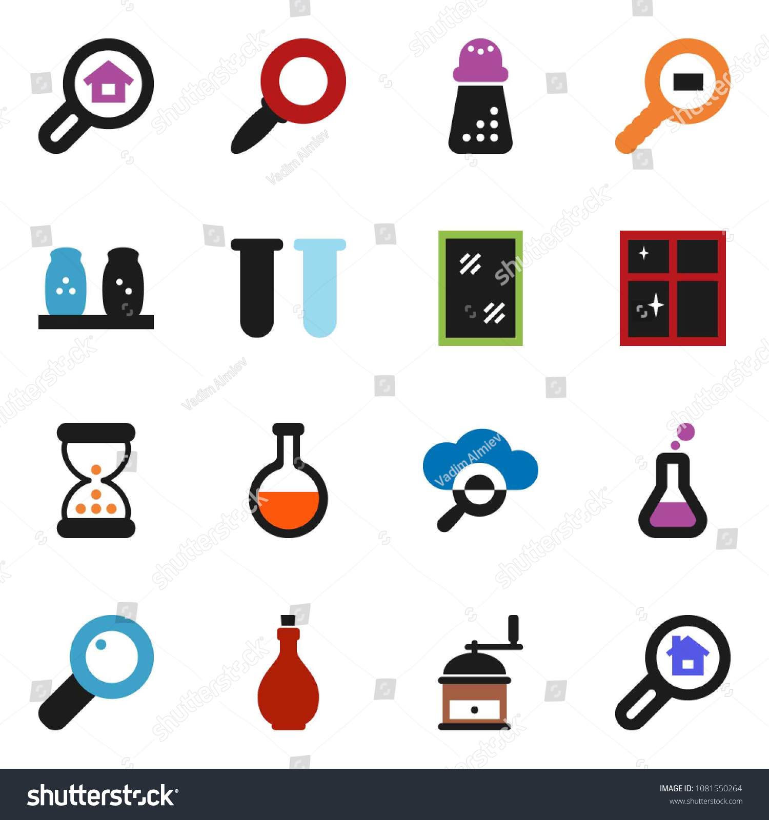 Solid Vector Icon Set Window Cleaning Stock Vector (Royalty