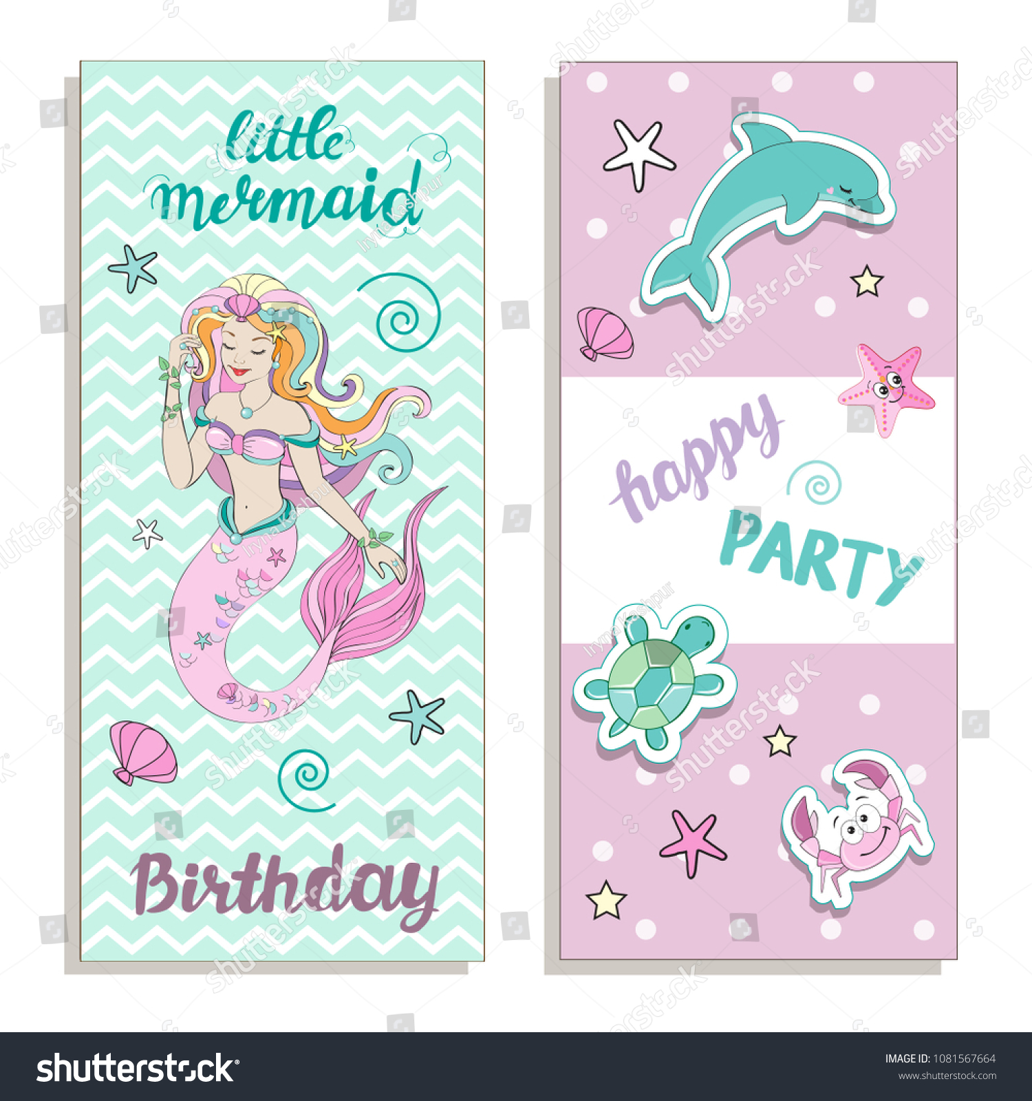 template card little mermaid stock vector royalty free 1081567664