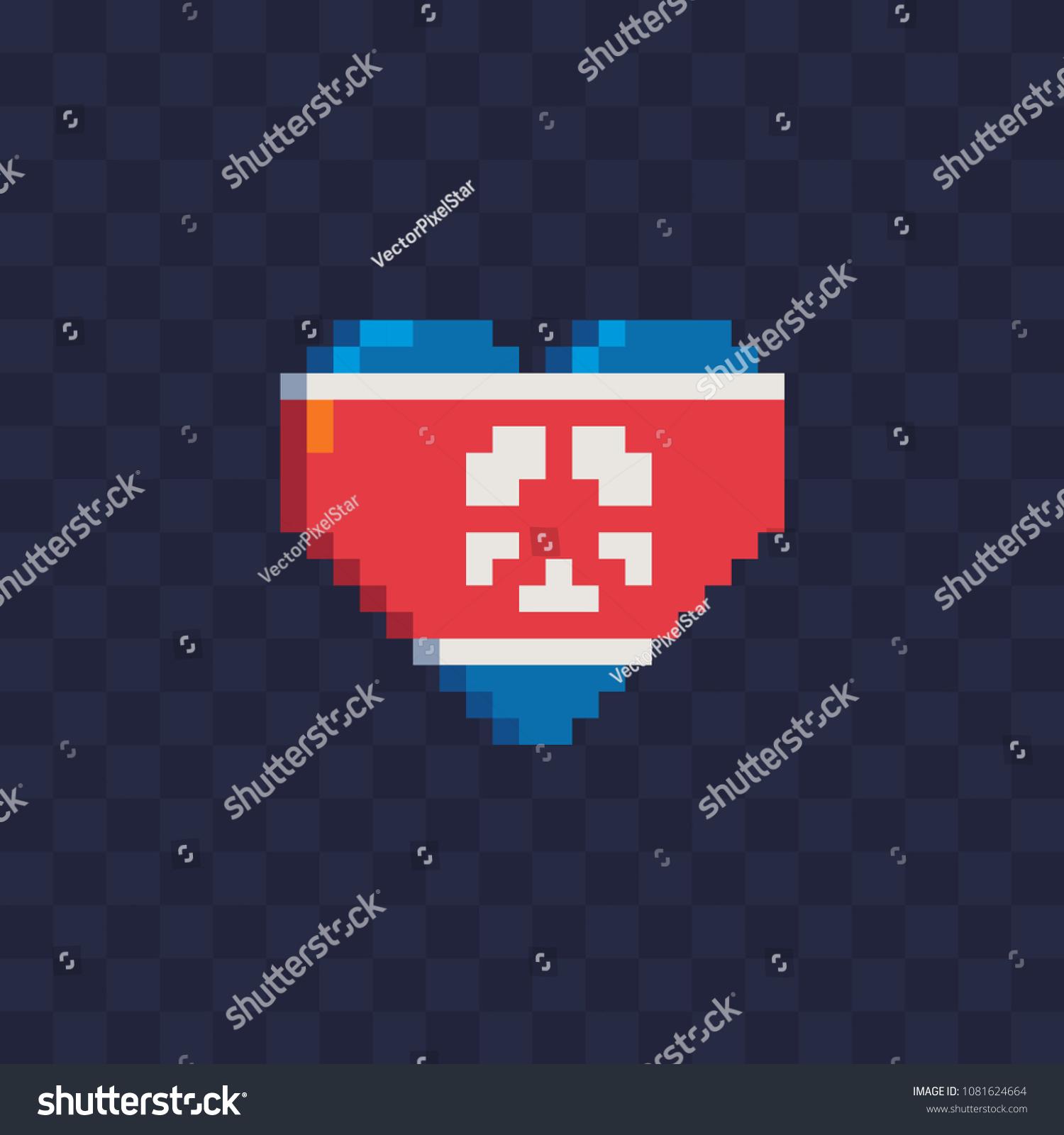 Flag North Korea Heart Shape Pixel Stock Vector Royalty Free