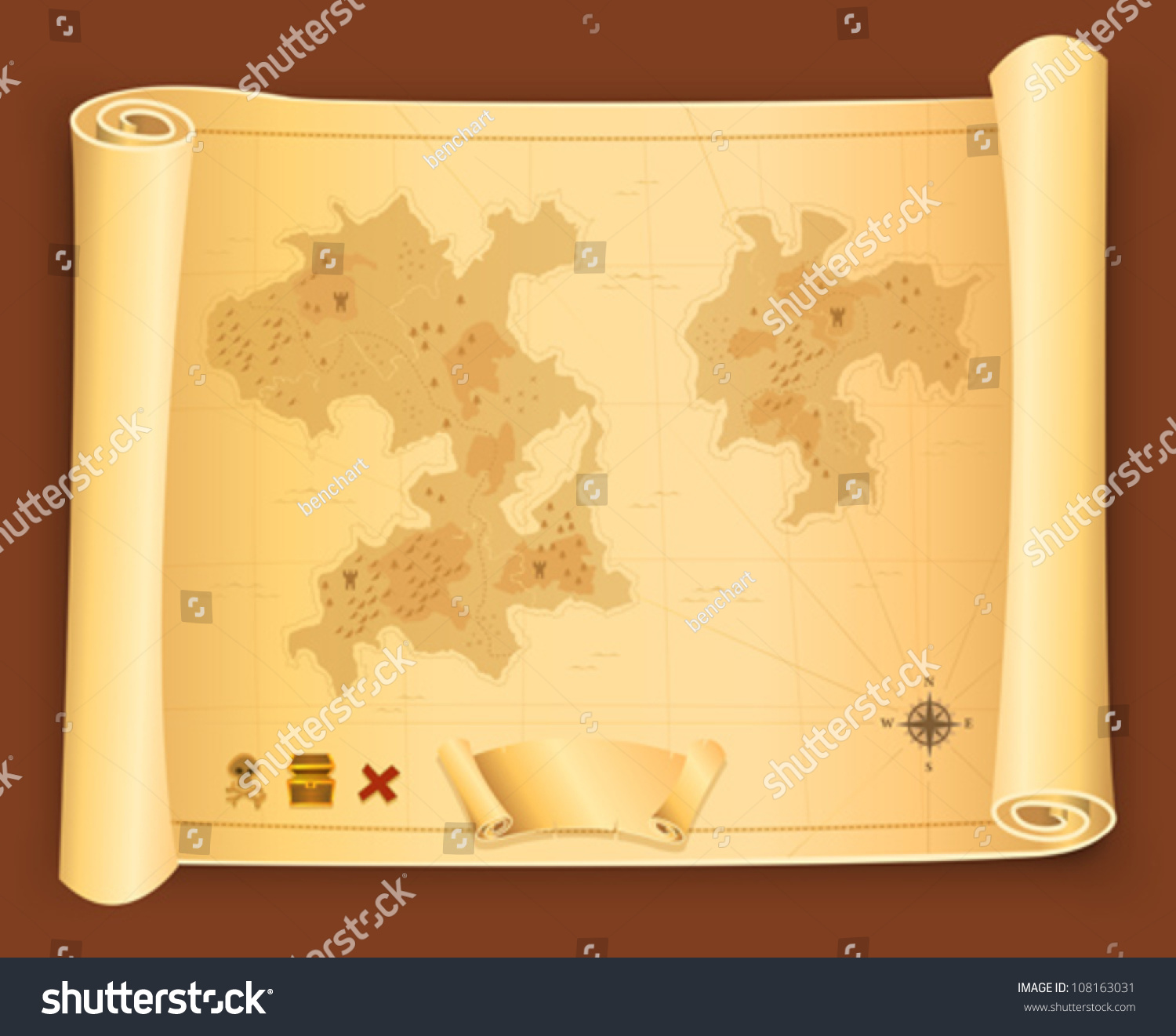 Antique Scroll Map: Treasure Map On Parchment Scroll/ Illustration Of A