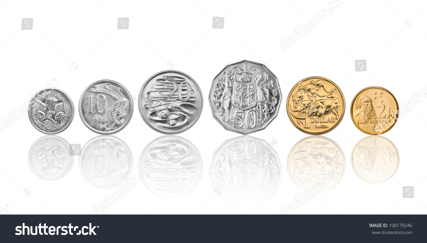High Resolution Photo Australian Coins 5 Stock Photo