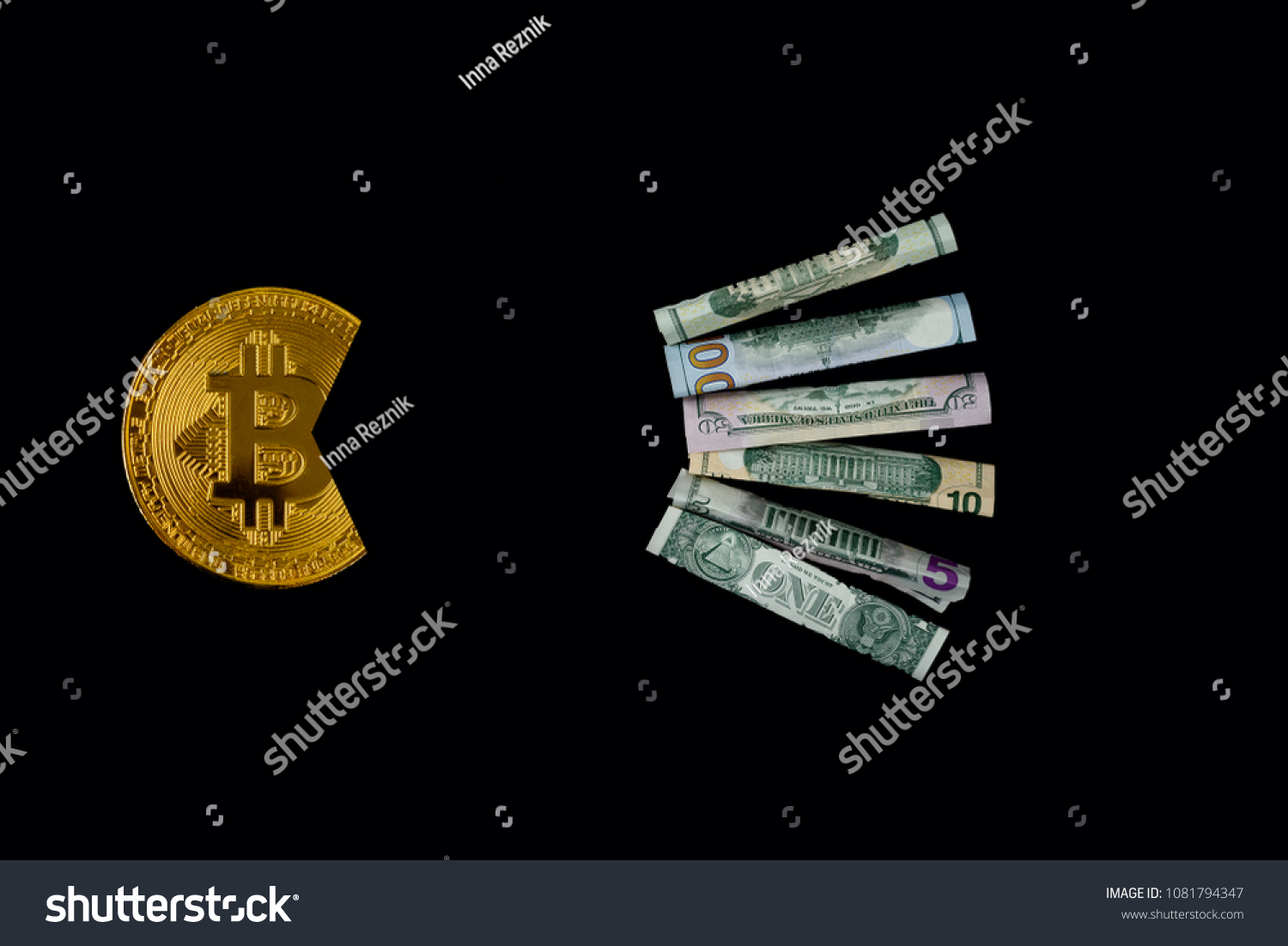 Bitcoin Eating Dollar Symbol Economic Power Stock Photo Edit Now
