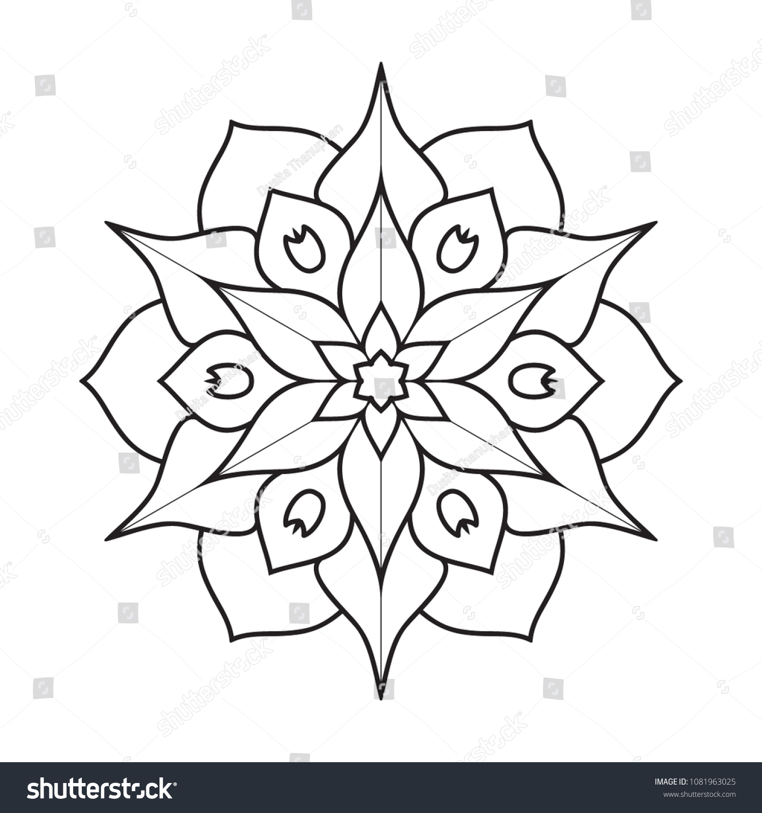 Easy Simple Mandalas Coloring Book Pages Stock Illustration ...