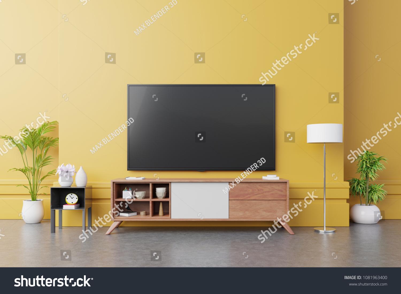 TV On Cabinet Modern Living Room Stock Illustration 1081963400 ...