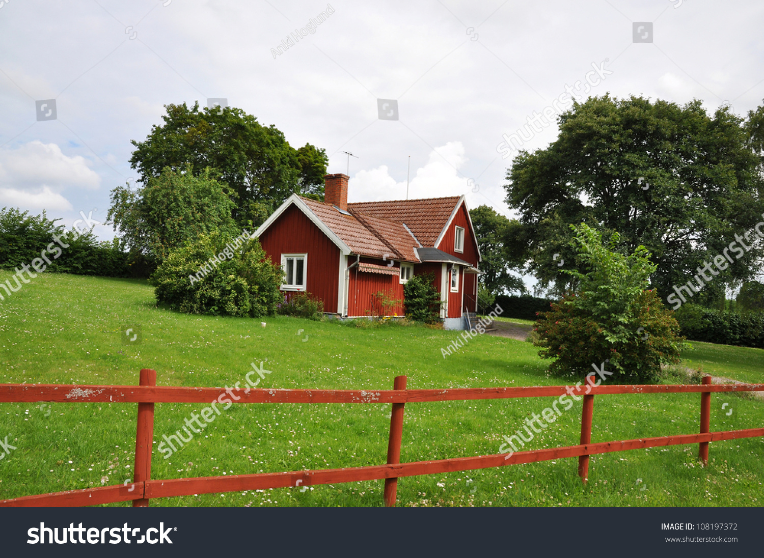 Red cottage garden trees bushes stock photo 108197372 for Red cottage