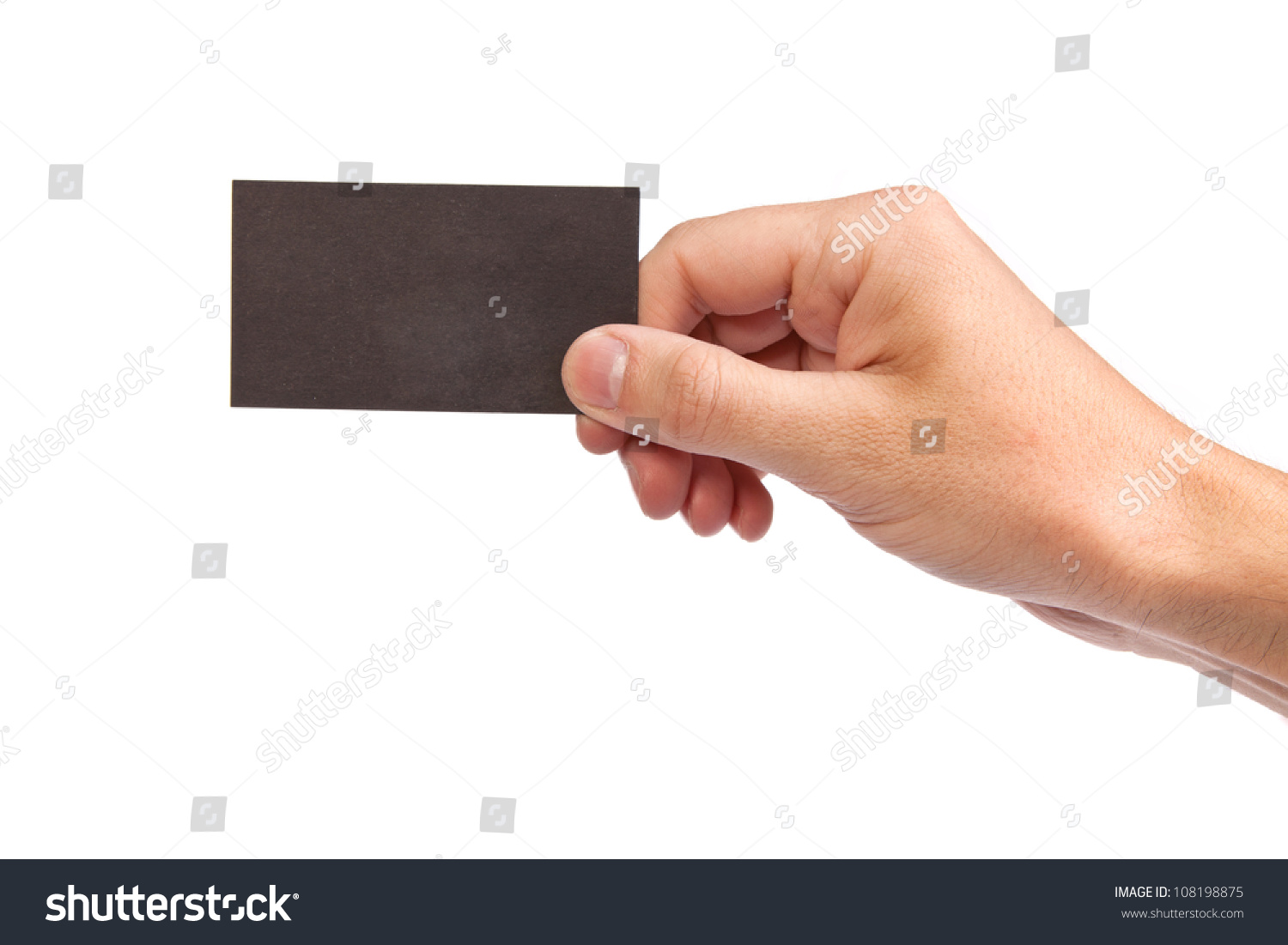 Technology Management Image: Businessman'S Hand Holding Blank Paper Business Card