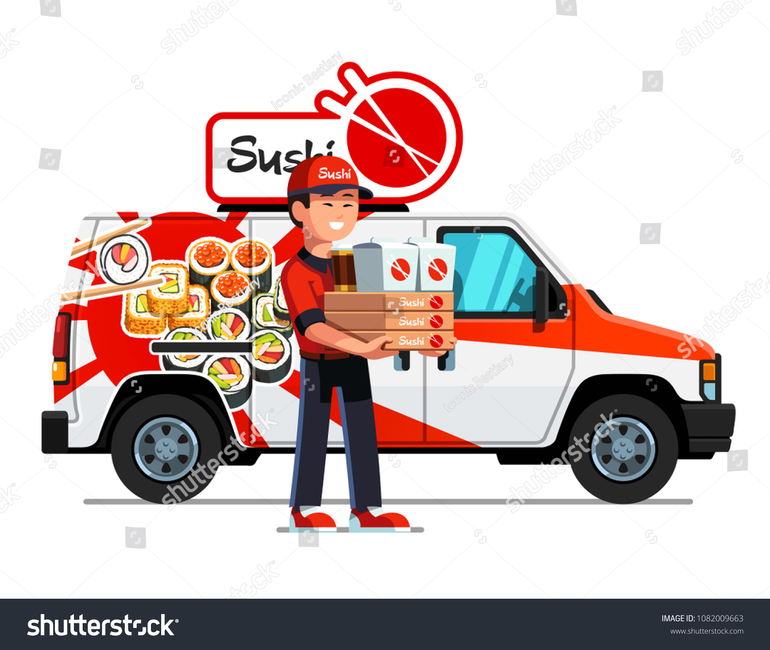 Cheerful Asian courier man delivering takeaway sushi and holding boxes with  food. Delivery boy truck