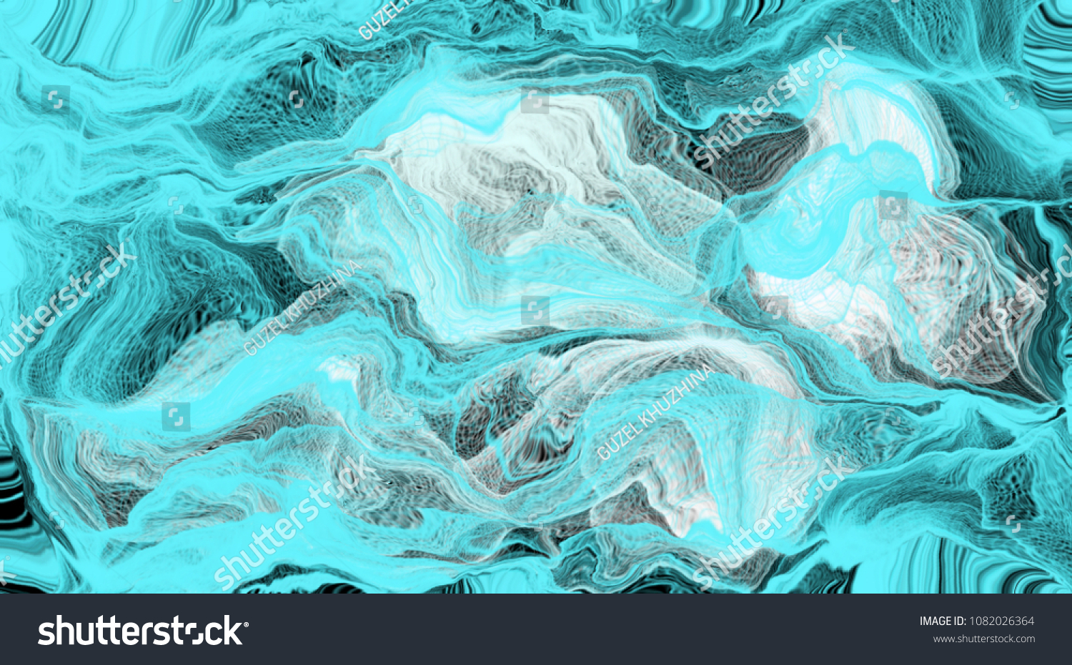 Abstract Drawing Blurred Objects Cyan Color Stock