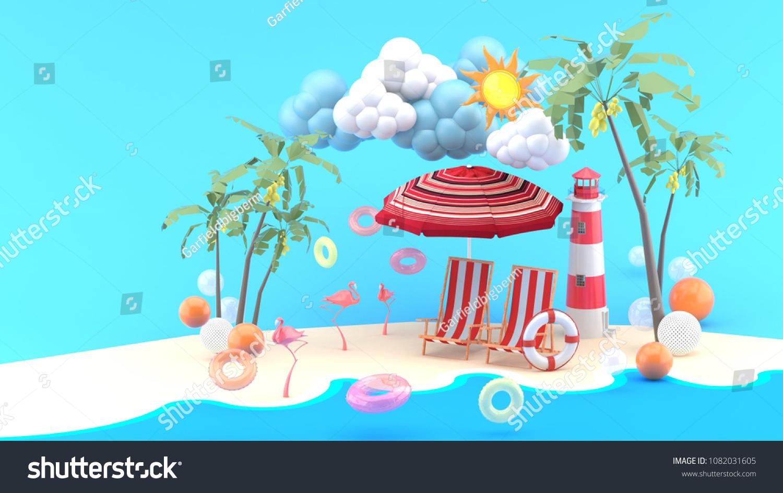 Deck Chairs Under Beach Umbrella On Stock Illustration 1082031605