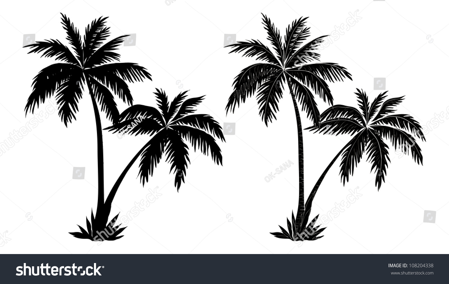 tropical palm trees black silhouettes outline stock vector
