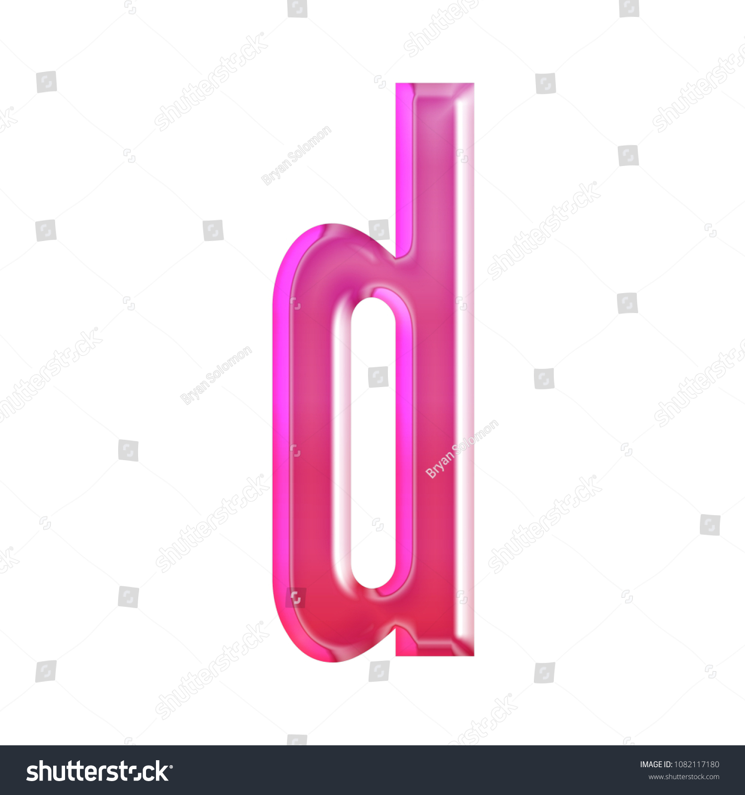 Shiny Pink Glass Letter D Lowercase Stock Illustration - Royalty ...