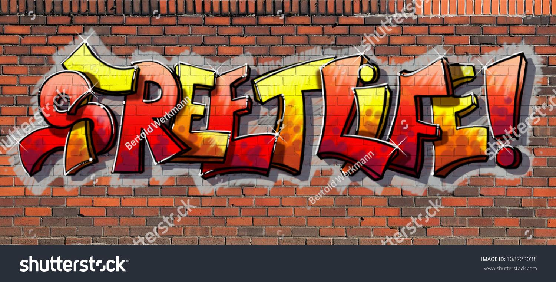 Grafiti wall red - Graffiti Wall A Red Brick Wall With The Sprayed On Inscription Street Life