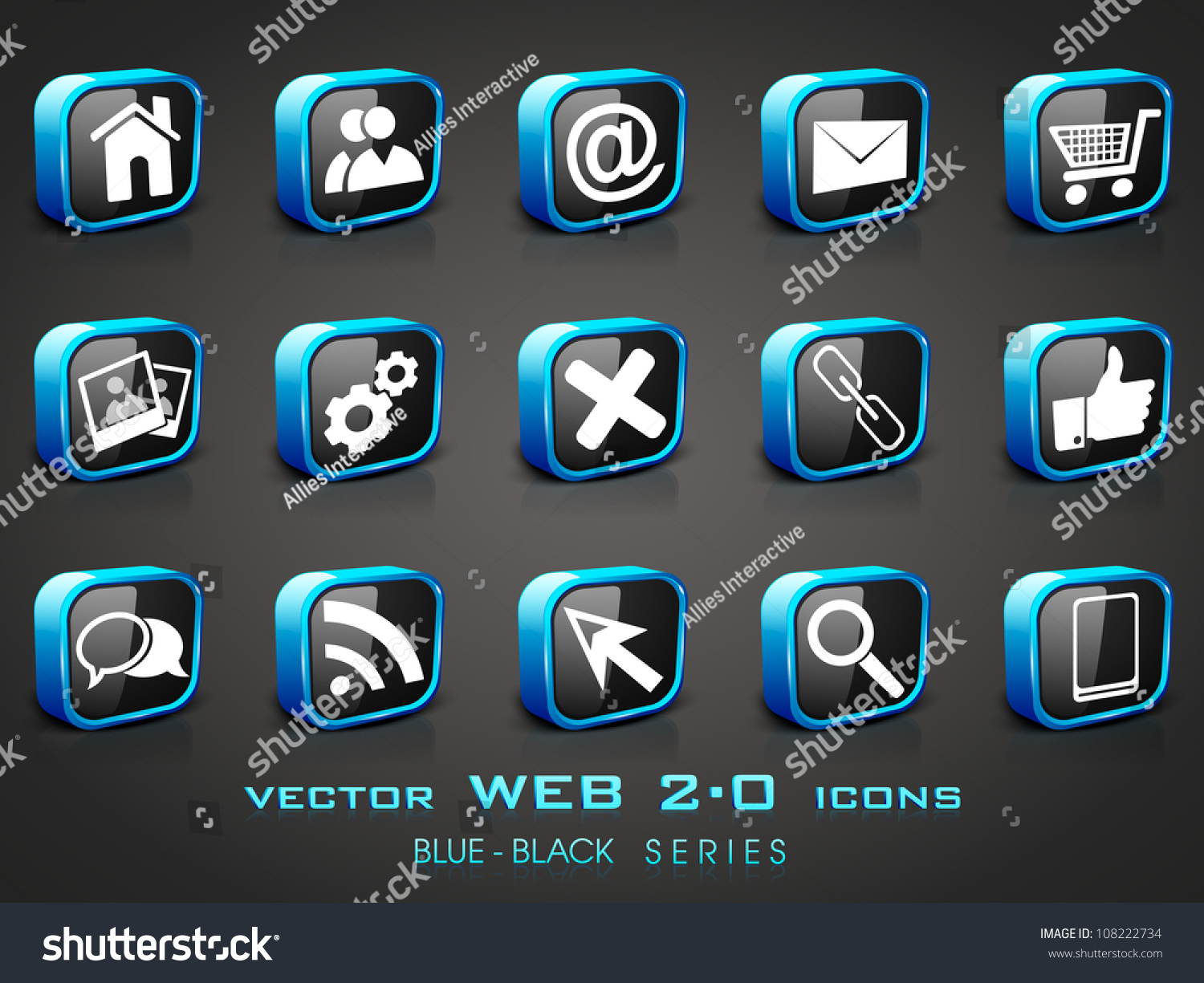 3d web 20 mail icons set stock vector 108222734 shutterstock 3d web 20 mail icons set in black and blue color can be used for sciox Gallery