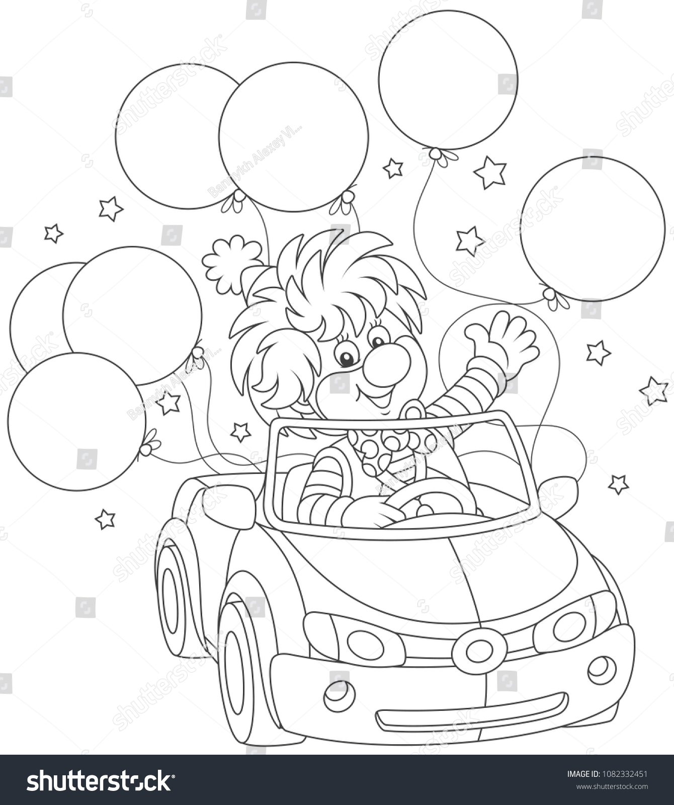 Funny Circus Clown Driving His Car Stock Vector (Royalty Free ...