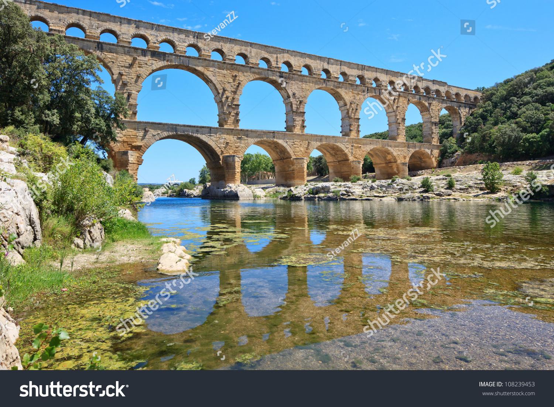 roman aqueduct pont du gard near stock photo 108239453. Black Bedroom Furniture Sets. Home Design Ideas