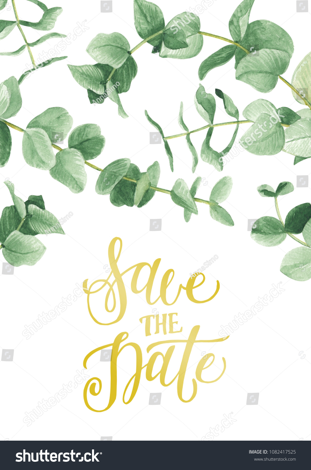 save the date card template with eucalyptus branches watercolor illustration
