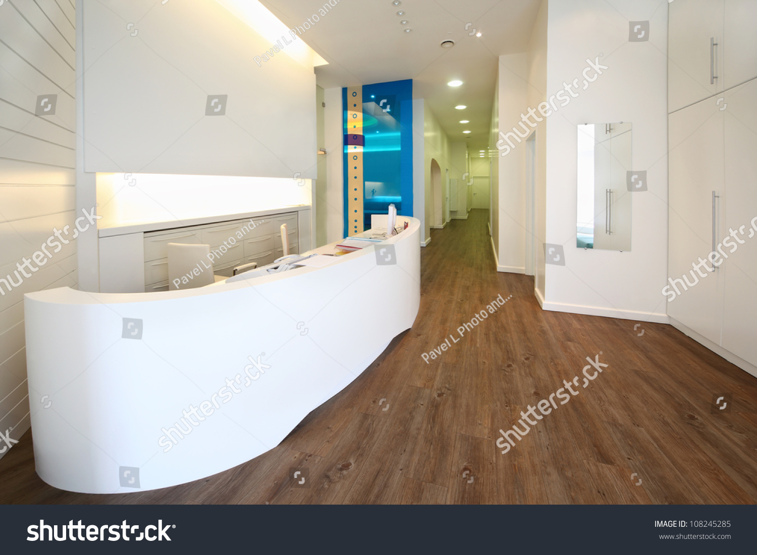 lit reception area dental clinic empty stock photo 108245285