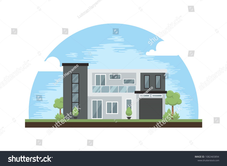 Modern House Design Inspirations Cartoon Illustrations Stock Vector