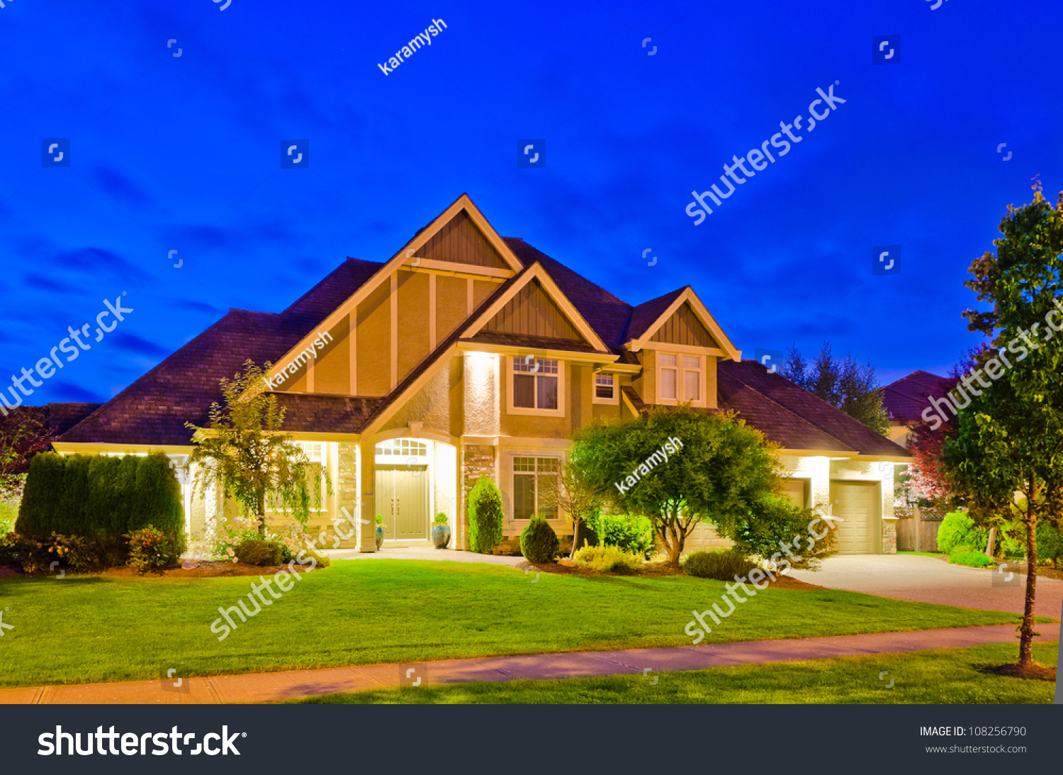 Luxury House At Night In Vancouver Canada Stock Photo 108256790