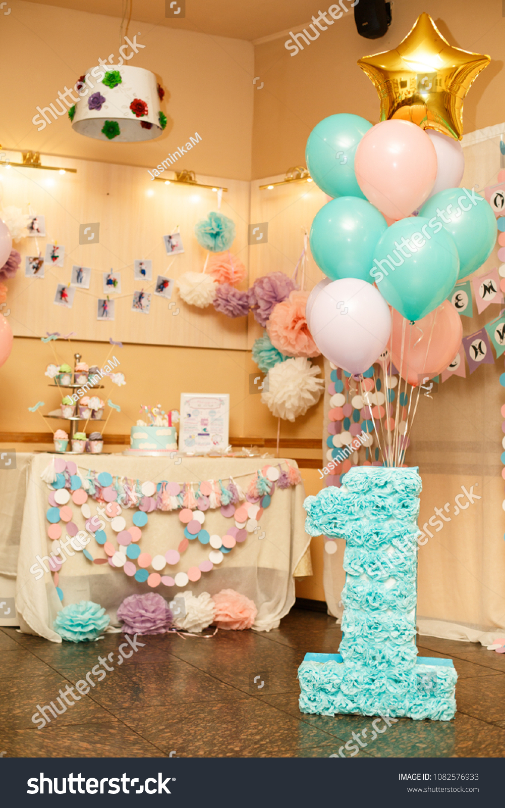 Girls First Birthday Decorations Party Little Stock Photo Edit Now
