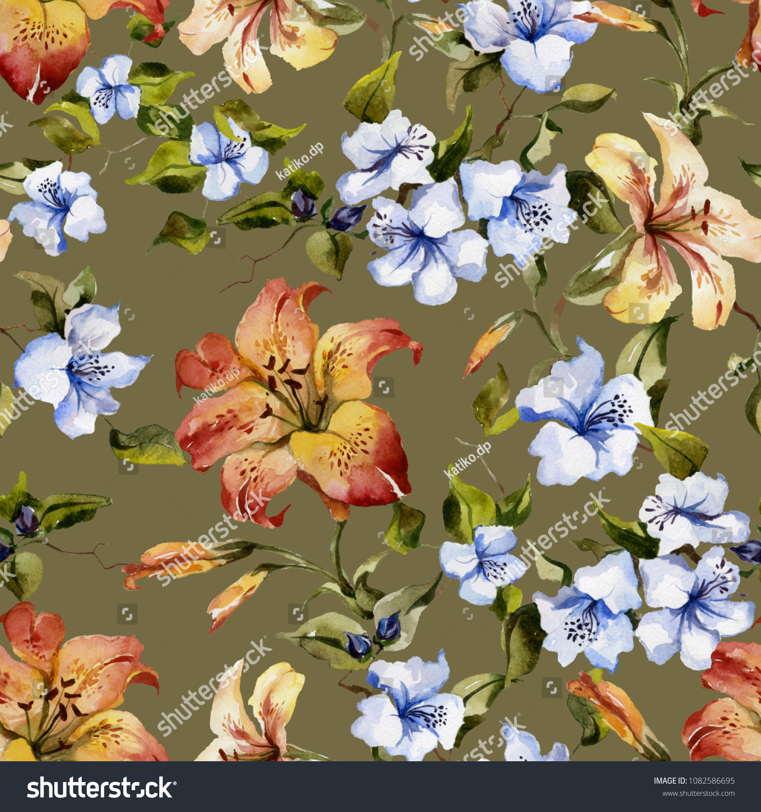 Beautiful tiger lilies small blue flowers stock illustration beautiful tiger lilies and small blue flowers on twigs against green background seamless floral pattern izmirmasajfo